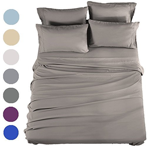 SONORO KATE Bed Sheets Set Sheets Microfiber Super Soft 1800 Thread Count Egyptian Sheets 16-Inch Deep Pocket Wrinkle Fade and Hypoallergenic – 6 Piece (King, Grey)