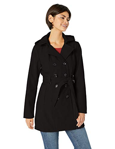 Sebby Collection Women's Soft Shell Trench Coat Water Resistant with a detchable Hood, Black, Medium
