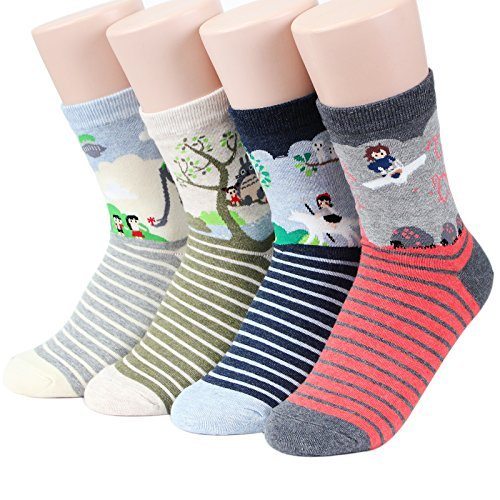 Socksense Choice Famous Japanese Series Animation Print Crew Socks (G Animation2_4pairs)