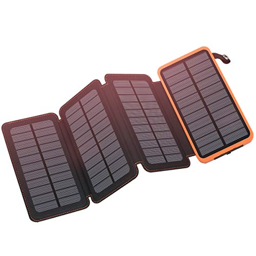Solar Charger 25000mAh, FEELLE Solar Power Bank with 4 Solar Panels Outdoor Waterproof Solar Phone Chargers with Dual 2.1A USB Ports for Smart Phone, Tablets, Camera, etc.