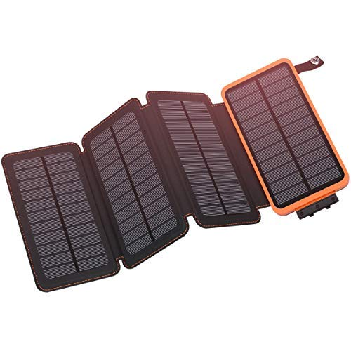 Solar Charger 25000mAh, Hiluckey Outdoor Portable Power Bank with 4 Solar Panels, Fast Charge External Battery Pack with Dual 2.1A Output USB Compatible with Smartphones, Tablets, etc. (Waterproof)