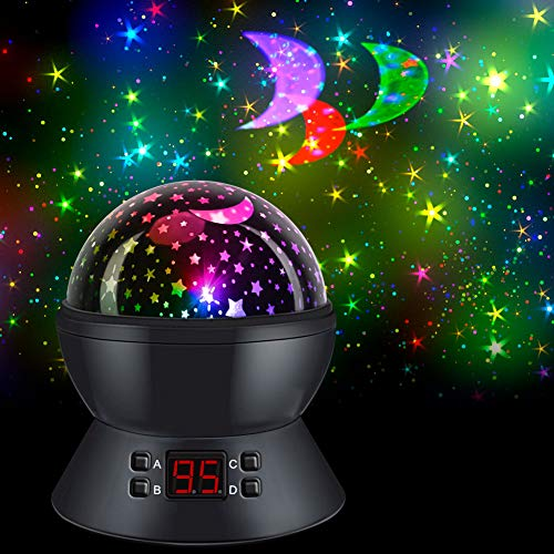 Star Projector Night Light with 360-Degree Rotating/Timer, SCOPOW Kids Star Night Light with USB Cable Stage Projection Effects, A Great Gift idea for Girls and Boys Ages 1-14 [Black]