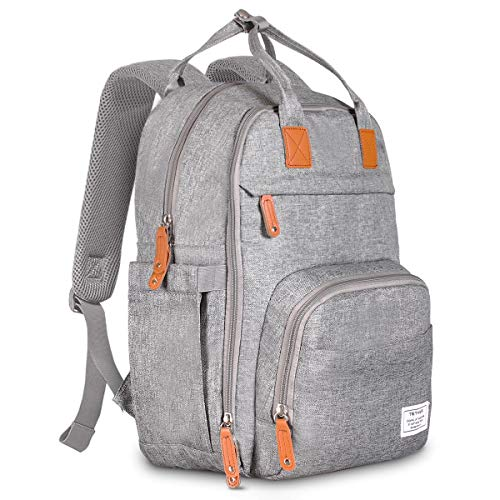 TETHYS Diaper Bag Backpack [Multifunction Waterproof Travel Back Pack] Maternity Baby Nappy Changing Bag Ideal for Mom and Dad, Large Capacity and Stylish Organizer for Baby Care – Gray