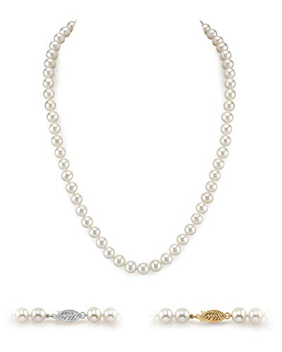 THE PEARL SOURCE 14K Gold 6.5-7.0mm AAA Quality Round White Freshwater Cultured Pearl Necklace for Women in 18″ Princess Length
