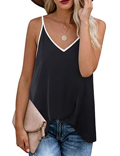 Timeson Tank Top Blouses for Women,Women's Plus Size Black Camisoles Juniors Cute V Neck Strappy Dressy Cami Shirts Fashion Sleeveless Blouse Tanks Summer Chiffon Casual Spaghetti Strap Ladies Tops