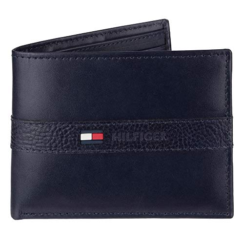 Tommy Hilfiger Men's Leather Wallet – Slim Bifold with 6 Credit Card Pockets and Removable Id Window, Navy, One Size