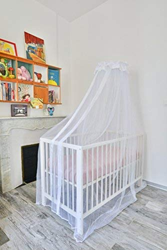 Tranquilisafe Baby Children Cot Bed Canopy -Mosquito Net White- with Holder Included