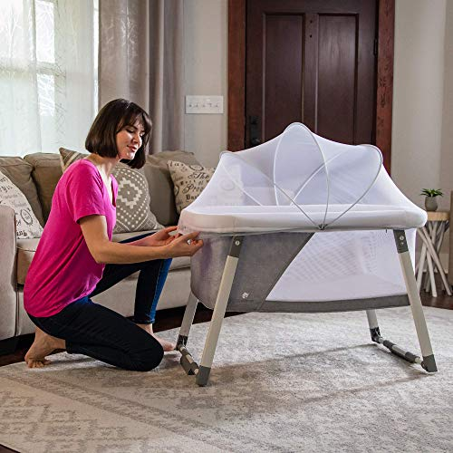 Travel Bassinet for Baby – Rocking & Sturdy Cradle – Includes Carry Case, Mosquito Net, Mattress, Sheets, Infant Crib, and Urine Pad – Portable Bed Side Sleeper for Newborn Babies by ComfyBumpy