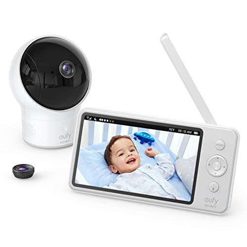 Video Baby Monitor, eufy Security, Video Baby Monitor with Camera and Audio, 720p HD Resolution, Night Vision, 5″ Display, 110° Wide-Angle Lens Included, Lullaby Player, Ideal for New Moms