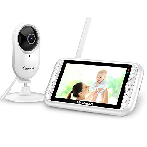 WOHOME LY-135 Video Baby Monitor with Camera and Audio 5″ HD 720P Display 900ft Range, Tem/sound alert,2-Way Talk, One-Click Zoom, Thermal Monitor and Night Vision ,Wall Mount kit