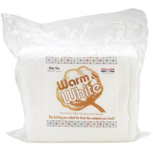 Warm Company Batting CBR-010 Warm & White Cotton Batting (120in x 124in) King Size, Each, None