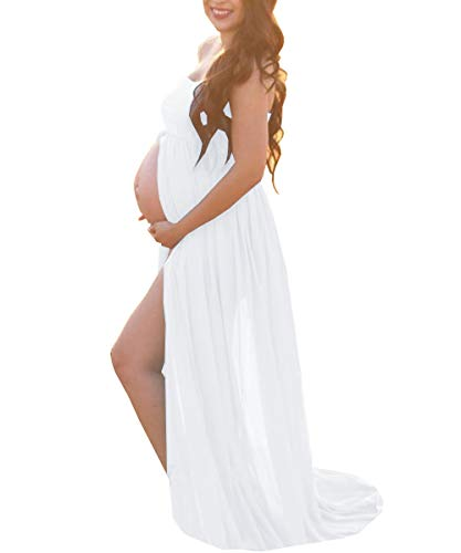 White Maternity Off Shoulder Tube Chiffon Gown Split Front Strapless Maxi Pregnancy Photography Dress for Photo Shoot and Baby Shower