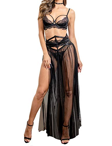 Women Sexy Lace Lingerie Set,Bra and Corset Long Sheer Lace Dress Nightgown with G-String 4 Piece Lingerie Set Black 36C