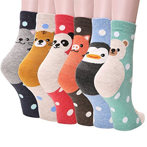 Womens Girls Best Socks Collection – Novelty Cute Lovely Animal Character Design Patterned, Perfect Secret Santa Present – Good for Gift Under $20 – One Size Fits All (Dot Panda 6 Set)