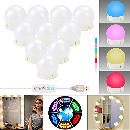 ZHENREN Vanity Mirror Light, Make Up LED Mirror Light Kit RGBW with 10 Dimmable Bulb, USB Port, Colorful Hollywood Style 1000LM Stick on for Vanity Set Dressing Room Bathroom