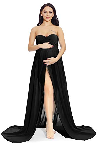 ZIUMUDY Maternity Chiffon Strapless Maxi Photography Dress Split Front Gown for Photoshoot (B – Black)