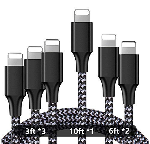 iPhone Charger,Aqualief Lightning Cable 3/3/3/6/6/10FT 6Pack Nylon Braided USB Charging Cable Compatible with iPhone 11/11 Pro Max/XS MAX/XR/XS/X/8/7/Plus/6S/iPad