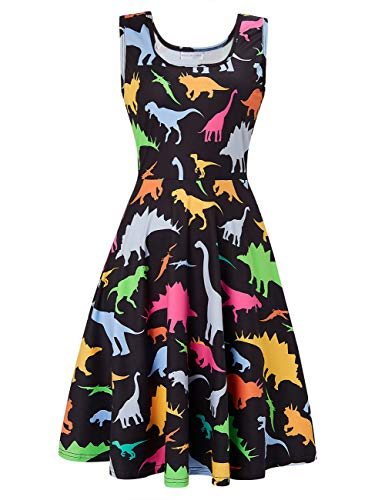 uideazone Women Sleeveless Dinosaur Graphic A-Line Dress for Casual Party Beach Holiday