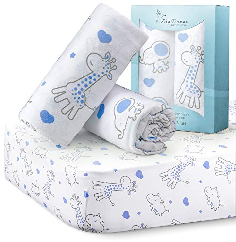 MYDEANI Fitted Crib Sheets Set 2 Pack 100% Jersey Knit Cotton for Baby Boys and Girls with Lovely Animals Prints in White, Gray and Blue, Standard Crib Mattress Topper