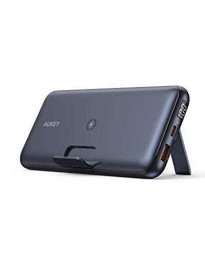 AUKEY USB C Power Bank, 20000mAh Wireless Portable Charger with Foldable Stand, 18W Power Delivery & Quick Charge 3.0 Power Bank for iPhone, Samsung, iPad & More (1ft A-to-C Cable Included)