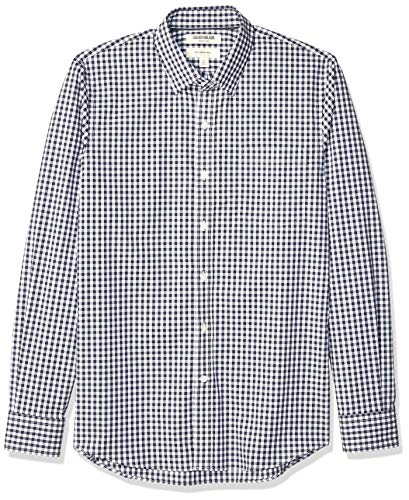 Amazon Brand – Goodthreads Men's Slim-Fit Long-Sleeve Wrinkle Resistant Comfort Stretch Poplin with Easy-Care, Navy Gingham, X-Large Tall