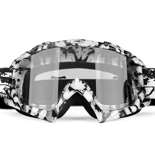 BATFOX Motorcycle Goggles Dirt Bike Dirtbike ATV Motocross Safety Tactical Riding Motorbike Glasses Goggles for Men Women Youth Fit Over Glasses UV400 Protection Shatterproof (clear)
