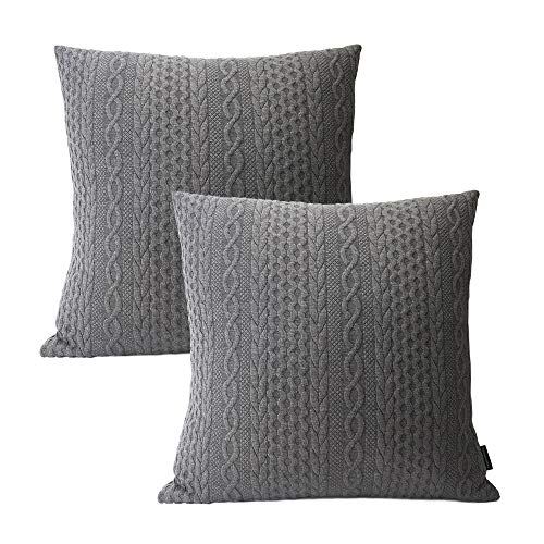 Booque Valley Decorative Gray Pillow Covers, Pack of 2 Super Soft Elegant Modern Embossed Patterned Cushion Covers Throw Pillow Cases for Sofa Bed Car Chair, 18 x 18 inch(Grey)