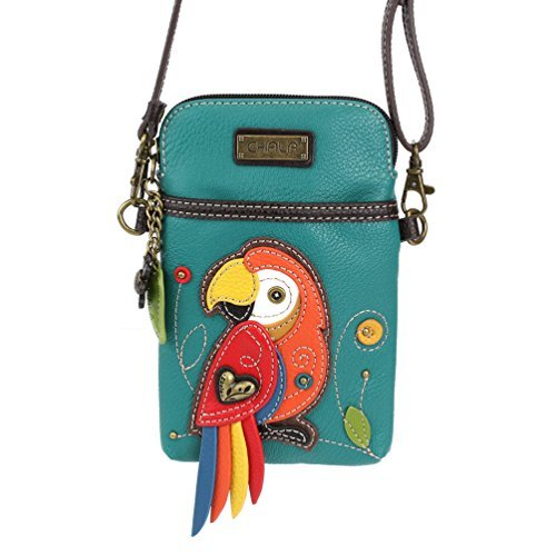 Chala Crossbody Cell Phone Purse-Women PU Leather Multicolor Handbag with Adjustable Strap – Red Parrot Turqouise