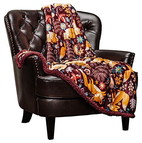 Chanasya Gold Fox Lush Nature Vibrant Color Print Gift Throw Blanket – Plush Sherpa Microfiber Throw for Birthday Gift Kids Bed and Couch (50×65 Inches) Maroon