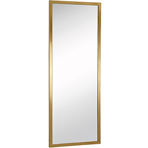 Commercial Grade Contemporary Industrial Strength Full Length Wall Mirror | Brushed Gold Metal Rectangle with Mirrored Glass | Vanity, Entrance, Bedroom, or Restroom Horizontal & Vertical (18″ x 48″)