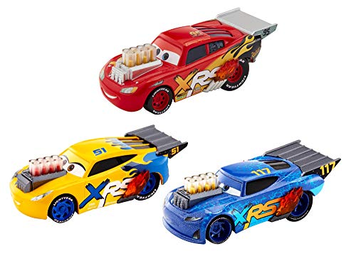 Disney Pixar'sCarsXRS Drag Racing 3-Pack, 1:55 Scale, Diecast Vehicles, mag Wheels, Exposed Pipes and Engine Pistons That Move, Ages 3 and up