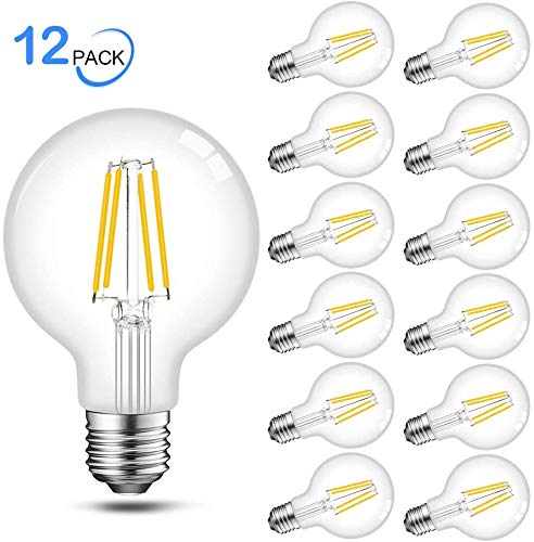 Edison G25 Globe LED Bulbs, 60 Watt Equivalent, 5000K Daylight, E26 Base, Dimmable Filament LED Vanity Light Bulbs, UL Listed, 12 Pack