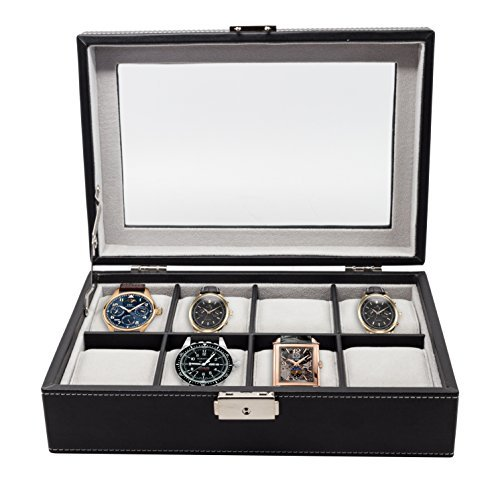 Elegant 8 Piece XL Oversized Extra Large Black Leatherette Watch Display Case and Storage Organizer Box for up to 65 MM Watches with Glass Top and Large Faux Suede Grey Pillows Father's Day Gift
