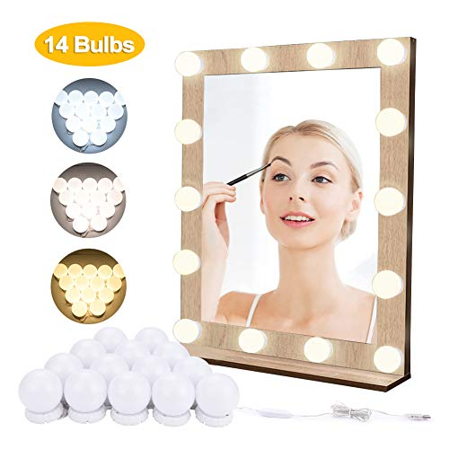 Evilto Vanity Mirror Lights, 14 Pcs Dimmable Led Vanity Makeup Light for Mirror Stick on lights, 3 Color Modes, Plug in Makeup Mirror for Makeup Vanity Table Set in Dressing Room (Mirror Not Included)