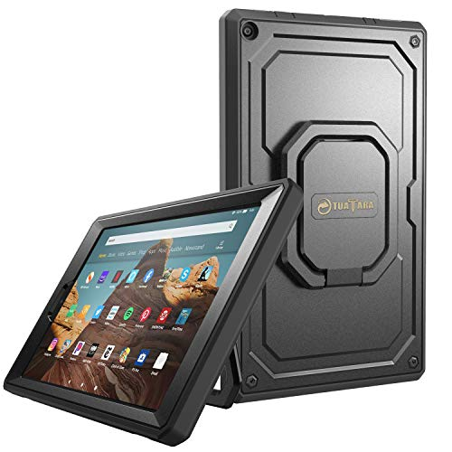 Fintie Case for All-New Amazon Fire HD 10 (7th and 9th Generations, 2017 and 2019 Releases) – [Tuatara Magic Ring] 360 Rotating Multi-Functional Grip Carry Cover w/Built-in Screen Protector, Black