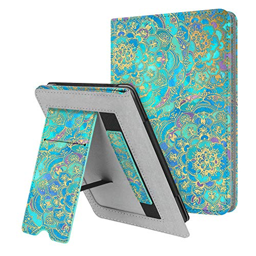 Fintie Stand Case for Kindle Paperwhite (Fits All-New 10th Generation 2018 / All Paperwhite Generations) – Premium PU Leather Protective Sleeve Cover with Card Slot and Hand Strap, Shades of Blue