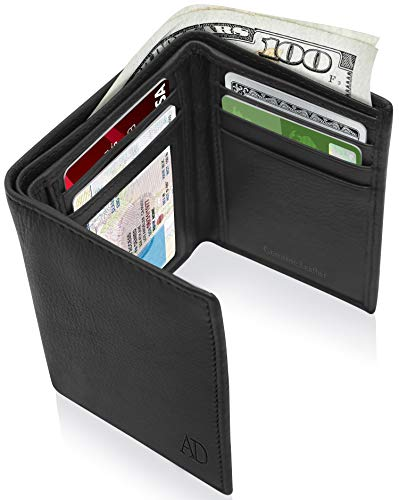 Genuine Leather Wallets For Men – Trifold Mens Wallet With ID Window RFID Blocking,Smooth Black