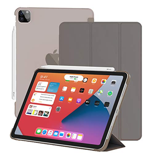 HIEGOO IPad Pro Case 11/12.9 Inch,Slim Lightweight Trifold Stand Smart Shell [Apple Pencil Charging Supported] Auto Sleep/Wake (12.9 inches-Gray)