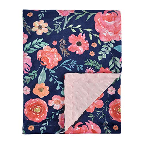 HOMRITAR Baby Blanket for Girls Super Soft Double Layer Minky with Dotted Backing, Elegant Receiving Blanket with Pink Floral Multicolor Printed Blanket 50 x 60 Inch(125x150cm), Navy Blue