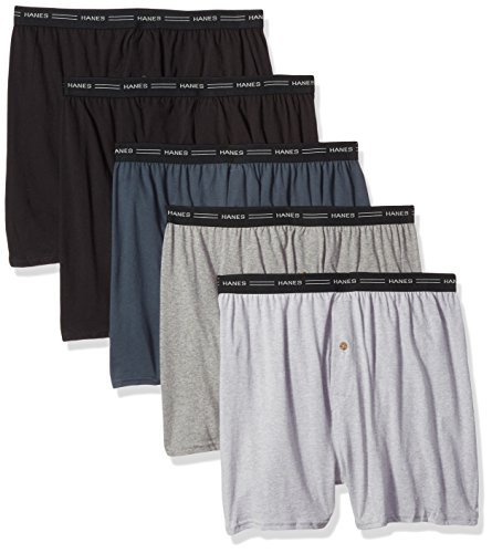 Hanes Men's 5-Pack Exposed Waistband Knit Boxers, Assorted, Medium