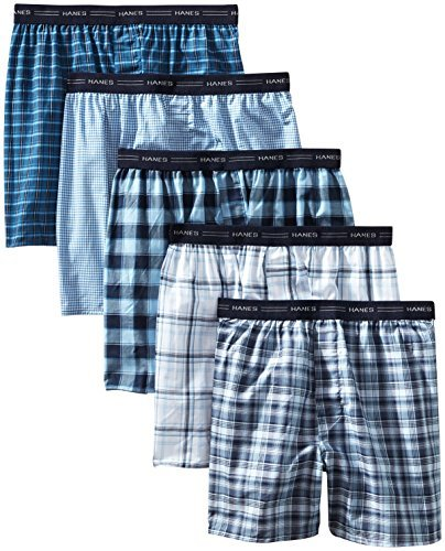Hanes Men's 5-Pack Tagless, Tartan Boxer with Exposed Waistband, Assorted, Large