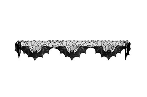 Heritage Lace Halloween Bats Mantle Scarf , 20″ x 80″, Black Lace, Made in the USA