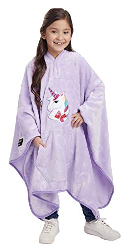 Jay Franco Nickelodeon JoJo Siwa Unicorn Throwbee – 2-in-1 Wearable Kids Plush Throw Blanket Poncho – Fade Resistant Polyester, 50″ x 60″ – (Offical Nickelodeon Product)
