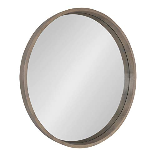 Kate and Laurel Hutton Round Decorative Wood Frame Wall Mirror, 30 Inch Diameter, Graywash