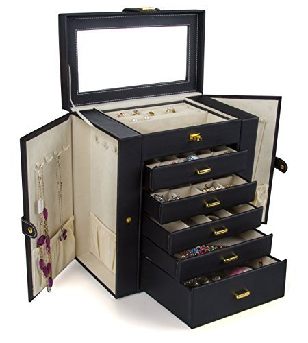 Kendal Huge Leather Jewelry Box/Case/Storage LJC-SHD5BK (Black)