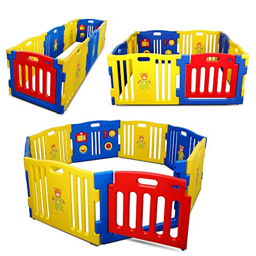 Kidzone Interactive Baby Playpen 8 Panel Safety Gate Children Play Center Home Child Activity Pen ASTM Certified (Blue- Yellow- Red)