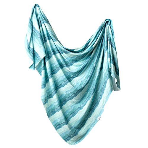 """Large Premium Knit Baby Swaddle Receiving Blanket""""Waves"""" by Copper Pearl"""