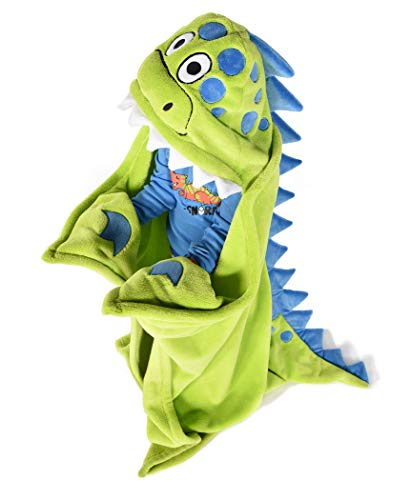Lazy One Animal Blanket Hoodie for Kids, Hooded Blanket, Wearable Blanket, Dinosaur, Soft, Cozy, Warm, Fleece (Dino Blanket)