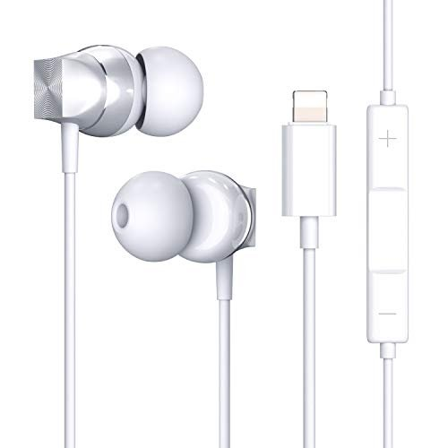 Lightning Headphones with Connector, Microphone – MFi Certified Wired in Ear Earbuds, Wired Noise Earphones for iPhone 11 Pro iPhone X/XS Max/XR iPhone 8/8 Plus iPhone 7/7 Plus/6/6S (Silver)