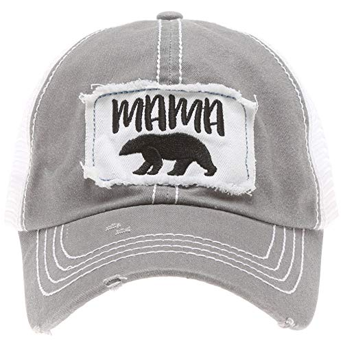 MIRMARU Women's Baseball Caps Distressed Vintage Patch Washed Cotton Low Profile Embroidered Mesh Snapback Trucker Hat (Mama Bear, Grey)
